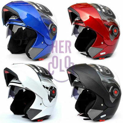 Motorcycle Helmet Dual Visor Flip up Modular Full Face Helmet 5Colors