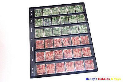 10 Sheet of Stamp Stock Pages (6 Strips) w 9 Binder Holes - Black & Double Sided