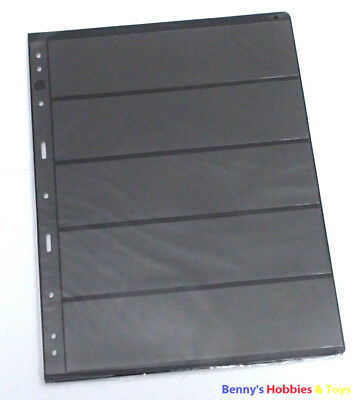 10 Sheet of Stamp Stock Pages (5 Strips) w 9 Binder Holes - Black & Double Sided