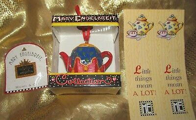 Mary Engelbreit Lot Of 3-1997 Teapot Ornament -Queen Pin - 2 Bookmarks- All New!