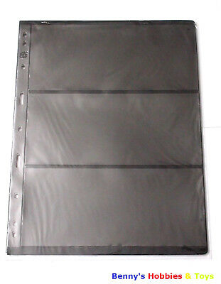 10 Sheet of Stamp Stock Pages (3 Strips) w 9 Binder Holes - Black & Double Sided