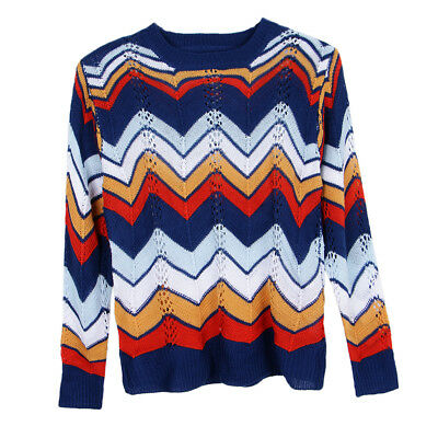 Ladies Ethnic Navy Blue/White/Yellow/Red Striped Long Sleeves Jumper Top