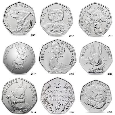 Beatrix Potter& all Commemorative 50p Coins Peter Rabbit Paddington Bear etc etc