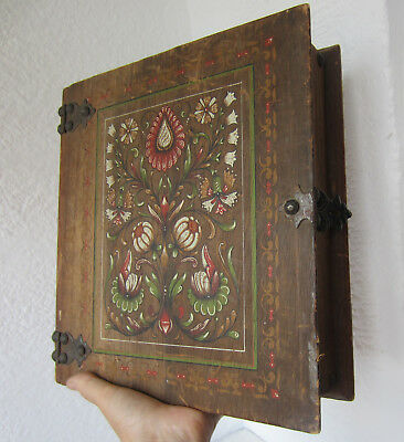 """11""""> Beautiful  ANTIQUE vintage hand PAINTED wooden BOX - BOOK SHAPED, folk art"""
