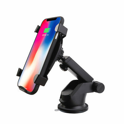 Qi Wireless Fast Car Charger Charging Stand Phone Mount Holder For Samsung S9 S8