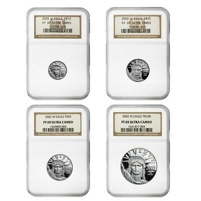 2002 W 1.85 oz Proof Platinum American Eagle 4-Coin Set NGC PF 69 UCAM