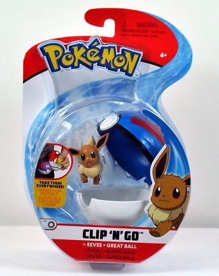 2018 NEW Pokemon Clip 'N' Go Carry EEVEE Figure & Pokeball Great Ball