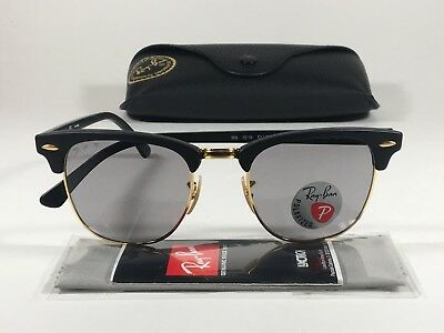 a5f37b55298 Ray-Ban Men s Polarized Classic Clubmaster Sunglasses RB3016 Matte Black  Gray