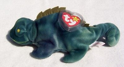 Ty Beanie Babies Iggy Iguana Yellow Eyes With Platic Tag Protector  1997 ~New~