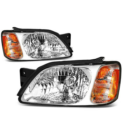 Fit 2000-2004 Subaru Legacy Pair Chrome Housing Amber Corner Headlight/Lamp Set