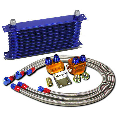 Blue 10 Row 10-AN Engine/Transmission Oil Cooler+Silver Filter Relocation Kit