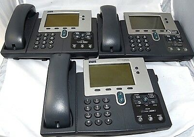 Lot of (3) Cisco CP-7940G 7940 IP VoIP Phone W/Handset, *Free S/H.