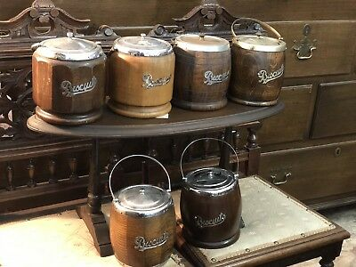 A Lot Of 6 Wooden Biscuit Barrel Cookie Jar/ Containers