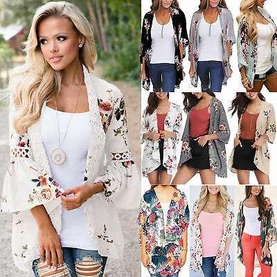 Womens Holiday Floral Kimono Cardigans Ladies Summer Waterfall Jacket Top Blouse