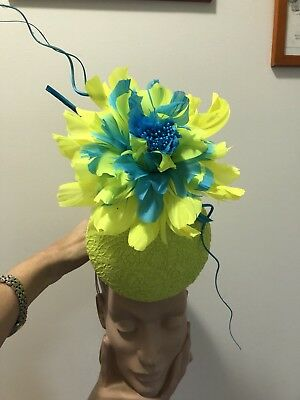 Wendy White Millinery Melbourne Cup Neon Yellow Green
