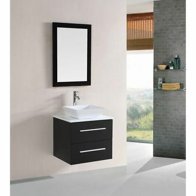 24 inch Modern Espresso Wall-Mounted Vanity, with Ceramic Top and Vessel Sink