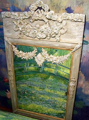 Antique French mirror Trumeau mirror  louis XVI mirror overmantle rose swags.