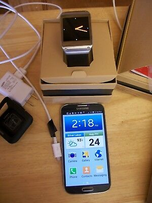 Samsung Galaxy S4 phone unlocked & Galaxy gear watch+ headphones charger