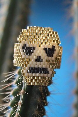 Fun Gold & White Mask Wrestling Huichol Bead Lucha Libre RING Mexican Folk Art