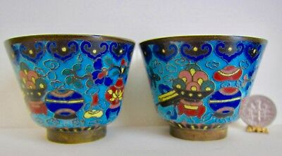"Matched PAIR Early 19C Chinese CLOISONNÉ Enamel Tea Wine Cups 2 1/8"" Diameter"