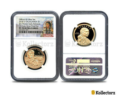 2018 S SACAGAWEA $1 10-Coin SILVER PROOF SET NGC PF70 EARLY RELEASES!