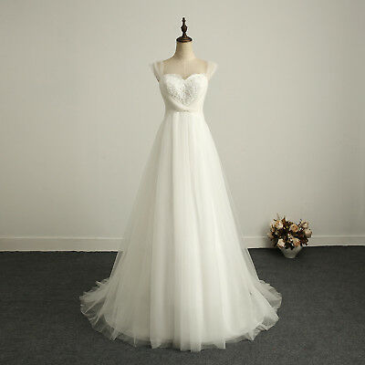 Sweetheart Wedding Dress Bridal Gown Sleeveless Long A Line Chiffon Tulle Lace