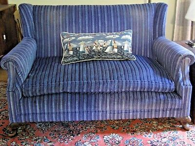 Antique Settee Small Sofa Reupholstered Lush Velvet Blue Hues ~ Feather Cushion!