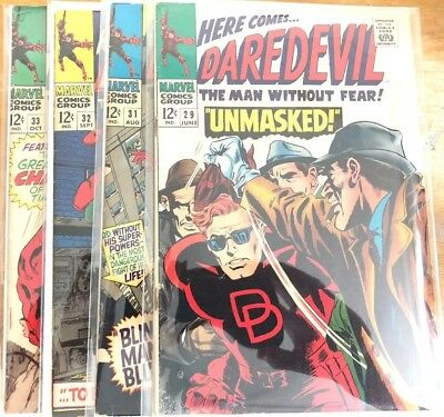Daredevil 1967 Marvel 4 Book Lot 29 31 32 33 Silver Age
