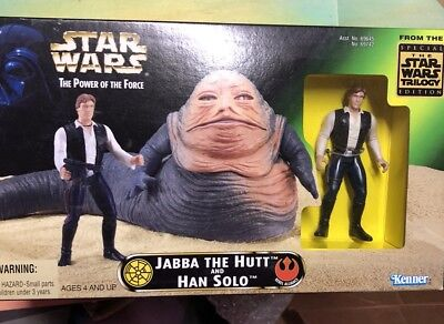 Star Wars Power Of The Force—Jabba The Hutt And Han Solo NRFB