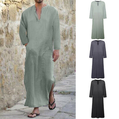 Mens Casual Ethnic Robes Loose Brief Long Sleeve Loose Vintage Dress Kaftan US