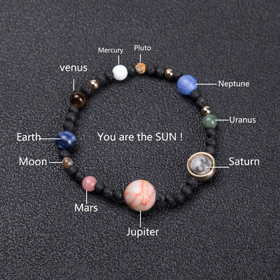 Handmade weave bracelet Galaxy solar system Eight planets natural stone beads