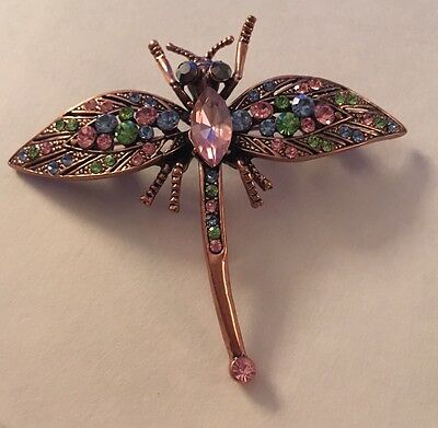 Pink Gold Plated Dragonfly Pin Brooch with Blue Pink Green Crystals