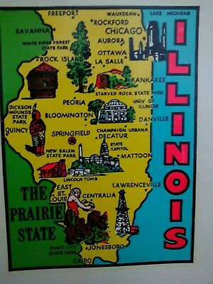 Vintage ILLINOIS State Travel Decal Authentic Souvenir RV Luggage Camper