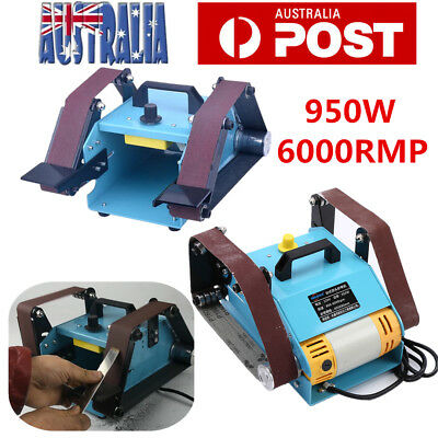 950W Belt Sander Sanding Grinding Machine Bench Grinder Double Axis 6000RMP AU