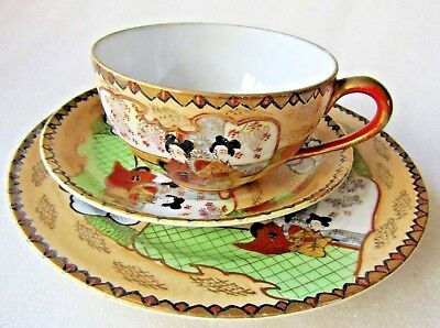 ANTIQUE HAND PAINTED CHINESE TRIO  CUP SAUCER PLATE Perfect