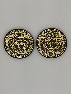 2PC Black/Gold Vintage Medusa Face Logo- Iron on Embroidered Patch US SELLER!!