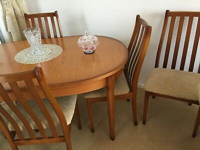 TEAK OVAL EXTENDING Dining Table With Chairs PicClick UK - Teak oval extension dining table