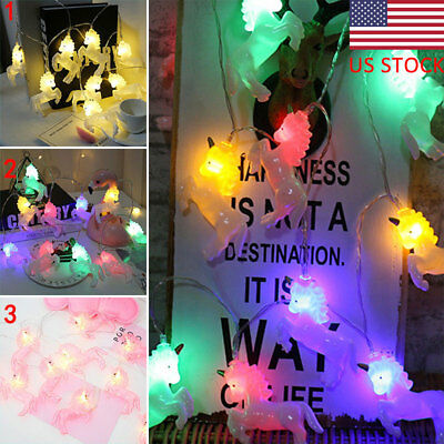 Battery Powered Lights Unicorn Light String Birthday Party Decors Photo Props US
