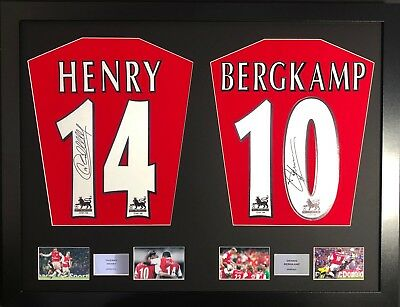 Thierry Henry and Dennis Bergkamp Arsenal framed signed shirt display