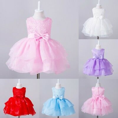 0-24Months Baby Tutu Tulle Toddler Girl Bow Lace Baptism Christening Party Dress