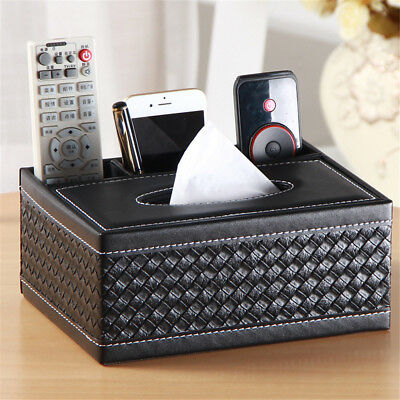 Tissue Box PU Leather Cover Home Table Car Napkin Storage Organiser Case Holder