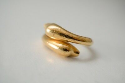 22K, c1970, Lalaounis Dolphins Ring, 6gr / Size 11 (maybe12) | bypass ring