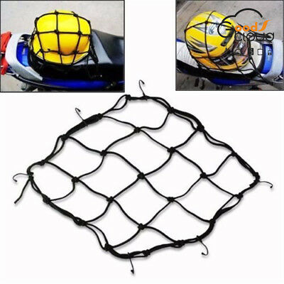 Motorcycle 6 Hooks Fuel Tank Luggage Net Mesh Web Bungee Black Bolsa Bag New