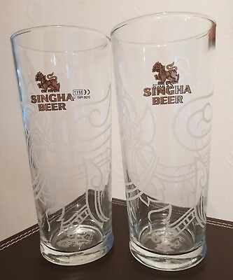 2x Singha Chinese Beer Pint Glasses CE M17 design new