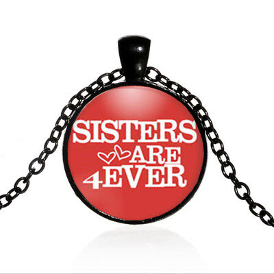 Vintage Sisters Black Dome glass Photo Art Chain Pendant Necklace #TUO497