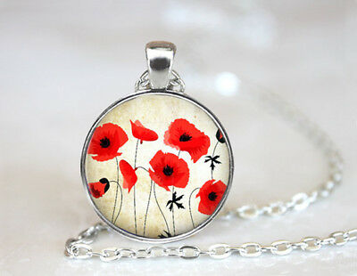 Vintage Red Poppies Flower Tibetan silver Dome Glass Art Chain Pendant Necklace
