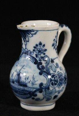 antique delft blue & white Creamer Jug Windmill Tichelaar Makkum Holland 10cm 4""