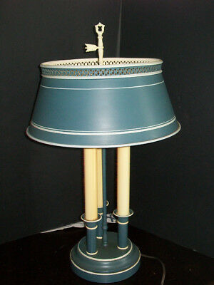 Antique Vtg Bouillotte Metal Toleware 3 Candlestick Table Lamp Colonial Blue