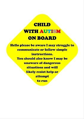 Autism/special Needs Cars Sign Personalised/none Personalised