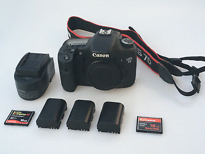 Canon EOS 7D Low Shutter Count 18.0MP Digital SLR Camera Black Body CF Video Bag